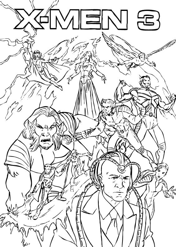 Ausmalbilder Marvel Helden Angel: Alle X-men Zum Ausmalen