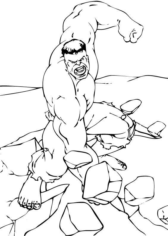 Hulk Bilder Zum Ausmalen: Hulk Zerbricht Einen Felsen Zum Ausmalen