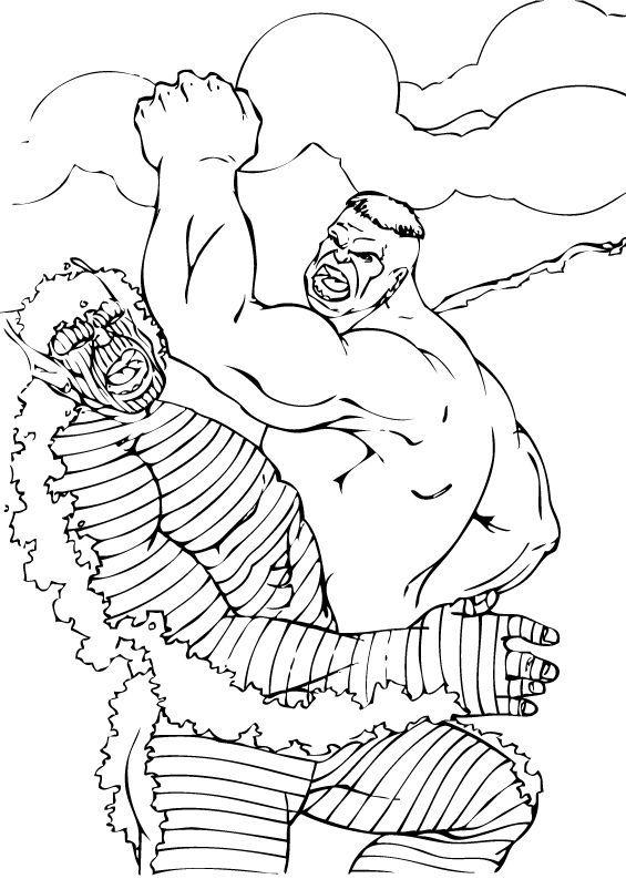 Hulk Bilder Zum Ausmalen: Hulk Duelliert Mit Abomination Zum Ausmalen