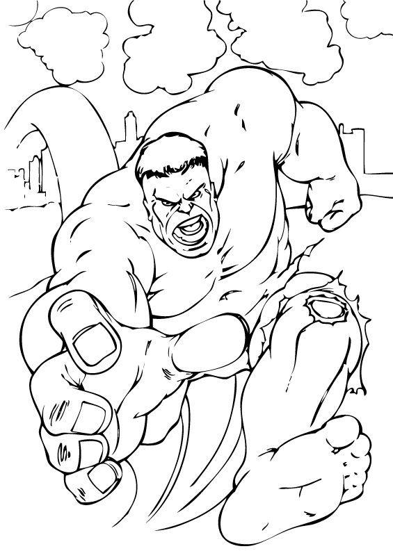 Ausmalbilder Hulk Hulk Zum Ausdrucken: Hulk Läuft Zum Ausmalen