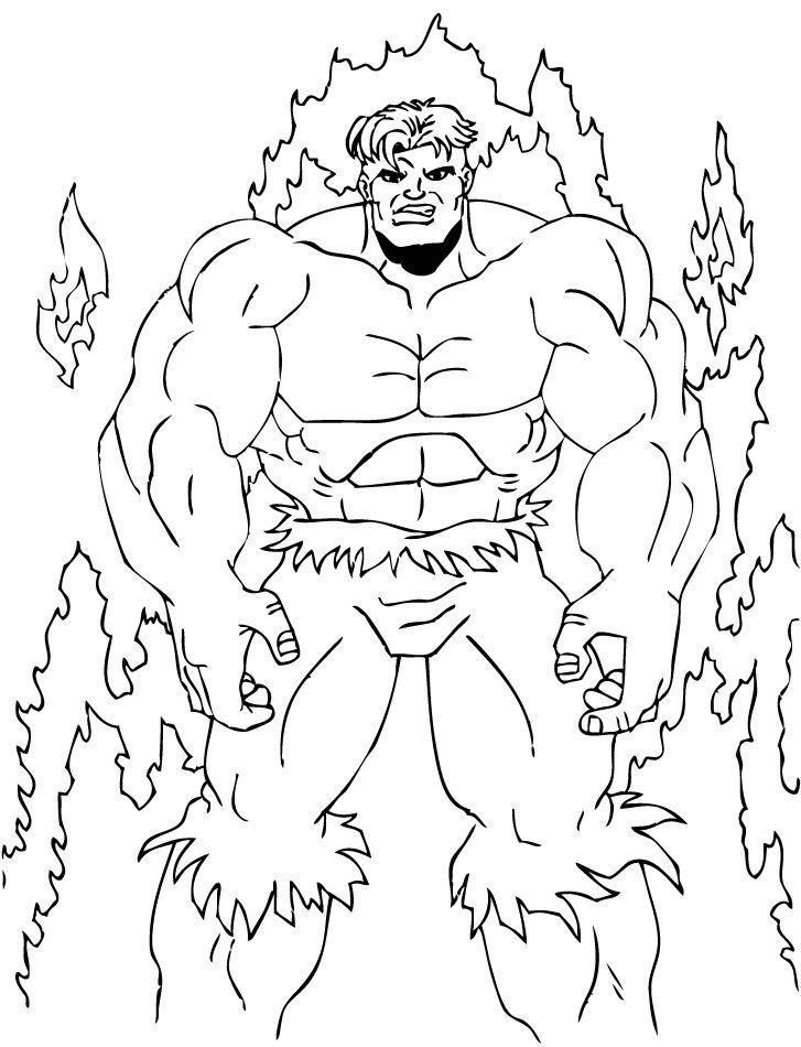 Hulk Bilder Zum Ausmalen: Hulk Im Feuer Zum Ausmalen