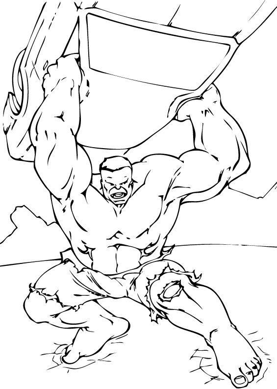 Hulk Bilder Zum Ausmalen: Hulk In Aktion Zum Ausmalen