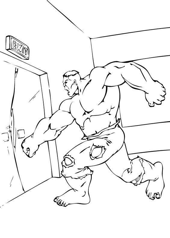 Hulk Bilder Zum Ausmalen: Hulk Schlägt Eine Tür Ein Zum Ausmalen