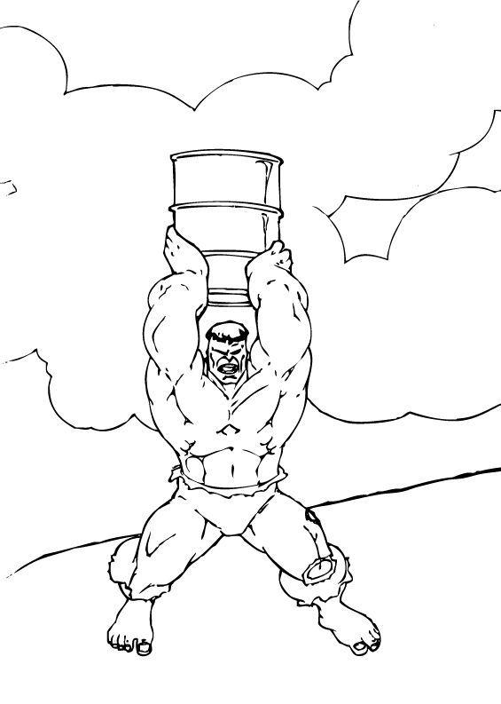 Hulk Bilder Zum Ausmalen: Hulk Mit Einem Fass Zum Ausmalen