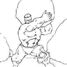Hulk mit einem Felsen