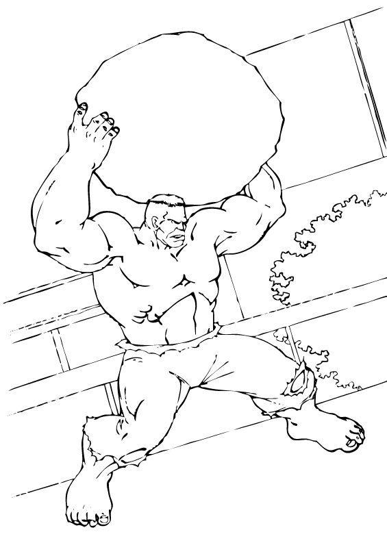 Hulk Bilder Zum Ausmalen: Hulk Hebt Einen Felsen Hoch Zum Ausmalen