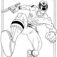 Power Ranger mit Laserwaffe
