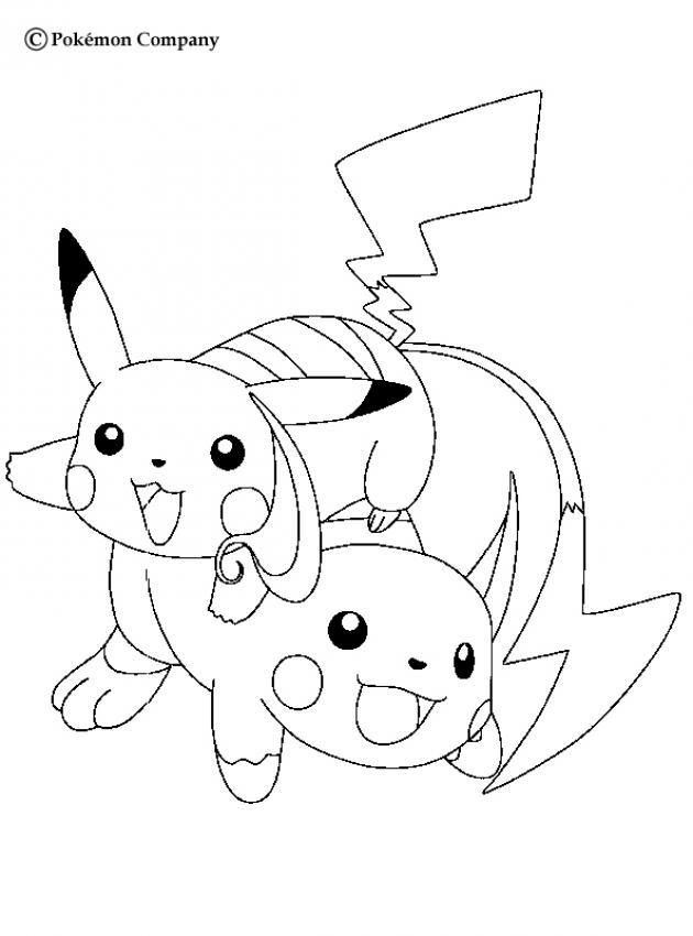 Raichu Und Raichu Pokemon Zum Ausmalen De Hellokids Com