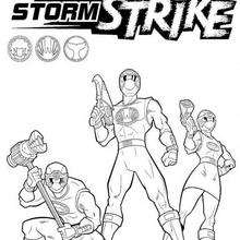 Drei bewaffnete Power Rangers