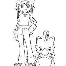 Sora und ein Digimon zum Ausmalen