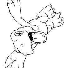 Agumon fliegt Malbogen