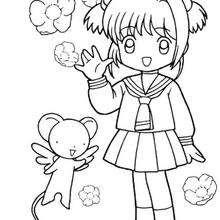 Sakura in ihrer Schuluniform mit Kereberus