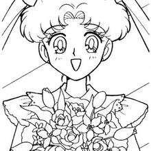 Sailor Moon mit einem Strauß Blumen