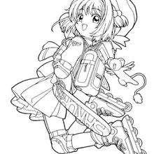Sakura fährt Rollerskates