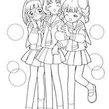 Sakuras Freunde: Chiharu Mihara, Naoko Yanagisawa und Rica Sasaki