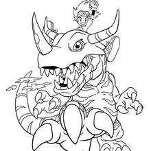 Tai mit einem riesigen Digimon Malbogen