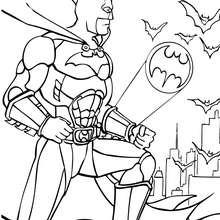 Batman mit Fledermäusen zum Ausmalen