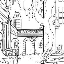 Dunkle Gotham City zum Ausmalen