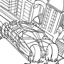 Batmans Auto in der Stadt zum Ausmalen