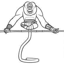 Master Affe macht Yoga zum Ausmalen