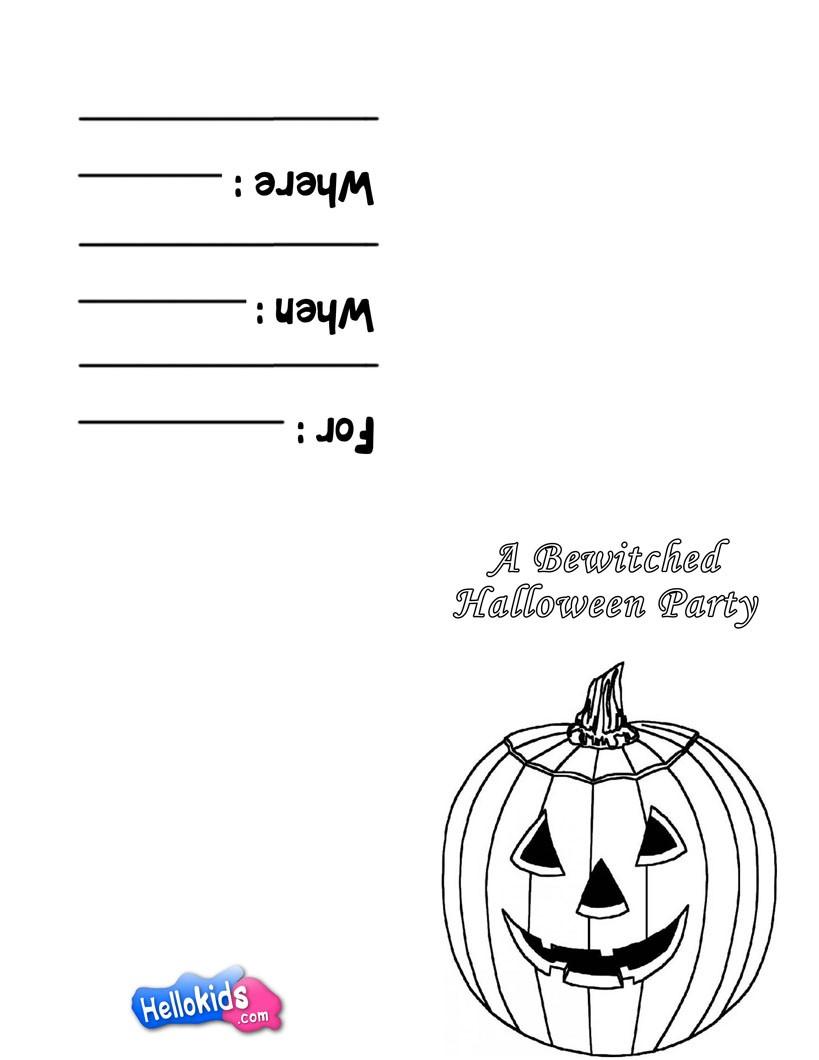 Halloween partyeinladung: kürbis motto zum ausmalen - de.hellokids.com