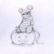 Halloween Teddybär und Kürbis