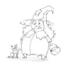 Halloween Hexe mit Katze zum Ausmalen