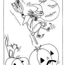 Halloweenhexe auf ihrem Besen