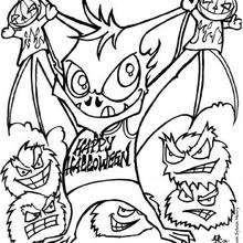 Halloween Fledermausmonster zum Ausmalen