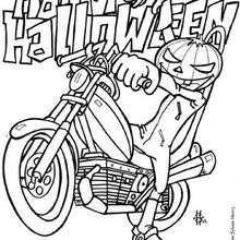 Halloweenkürbis auf Motorrad