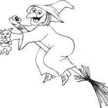 Halloween Hexe auf einem Besen zum Ausmalen