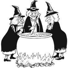Hexen kochen den Halloween Zaubertrank