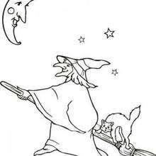Halloween Hexe mit einem Besenstiel zum Ausmalen