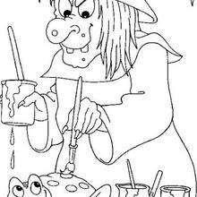 Hexe malt einen Frosch zum Ausmalen