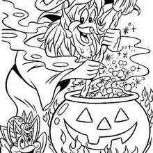 Halloween Hexe kocht einen Zaubertrank zum Ausmalen