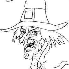 Halloween gruseliger Hexenkopf zum Ausmalen