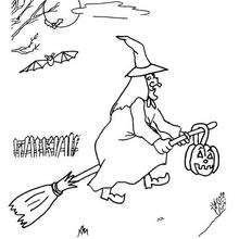 Hexe mit Besen zum Ausmalen