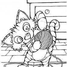 Katze mit ihrem Wollball