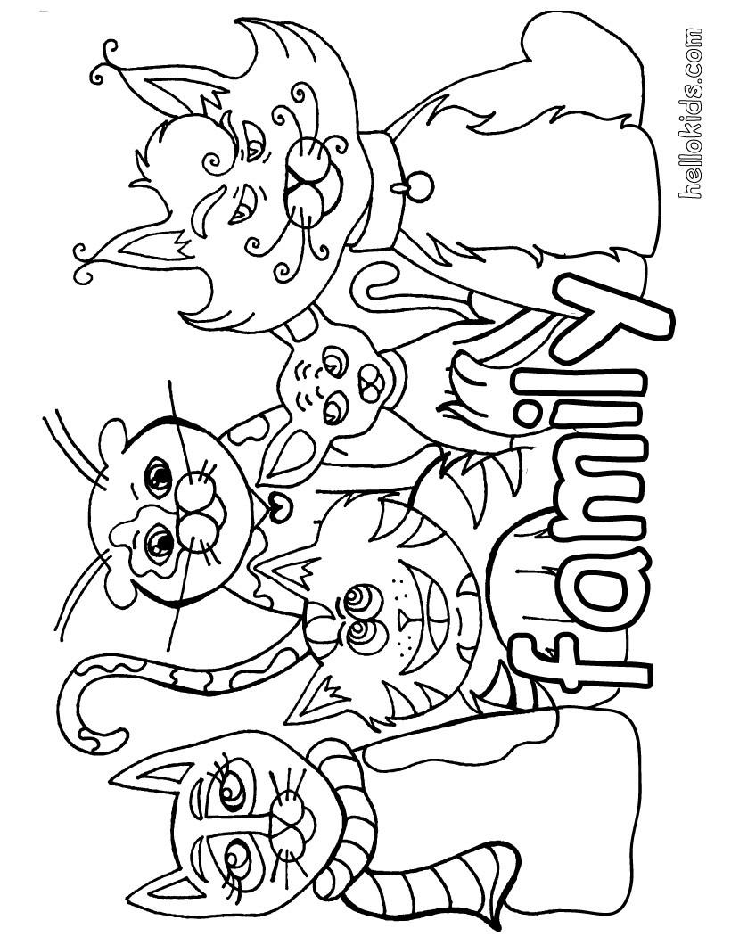 Ausmalbilder katzenfamilie kostenlos