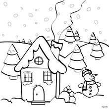 Weihnachtshaus zum Ausmalen