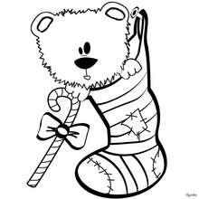 Teddybär und Weihnachtsstrumpf zum Ausmalen