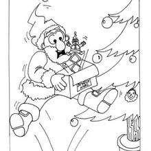 Weihnachtsmann mit Geschenken zum Ausmalen