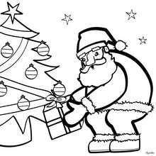 Weihnachtsbaum und Weihnachtsmann zum Ausmalen