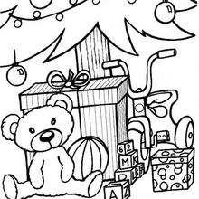 Weihnachtsbaum und Teddybär zum Ausmalen