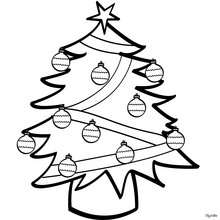 Geschmückter Weihnachtsbaum zum Ausmalen