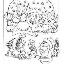 Lustige Weihnachtsrentiere zum Ausmalen