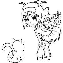 Ana trägt ein Halloween Engelkostüm zum Ausmalen