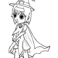 Ana trägt ein Halloween Hexenkostüm zum Ausmalen