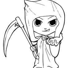 Teo trägt ein Halloween Skelettkostüm zum Ausmalen
