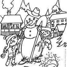 Kinder bauen einen Schneemann zum Ausmalen